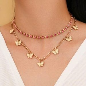 3/$30 💛 Rhinestone Butterfly Layered Necklace